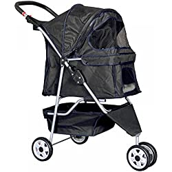 3 Wheels Pet Stroller Dog Travel Folding Carrier Rear Ventilation Easy Fold Black