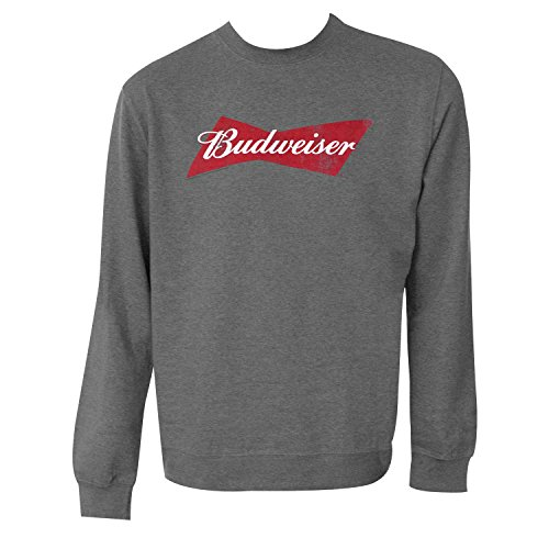 Budweiser Bowtie Logo Grey Cotton Crewneck Sweatshirt X-Large ()