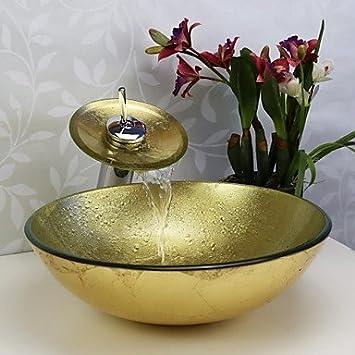 HERBER Faucet des Badezimmer Waschbecken Set, gehärtetes Glas Vessel ...