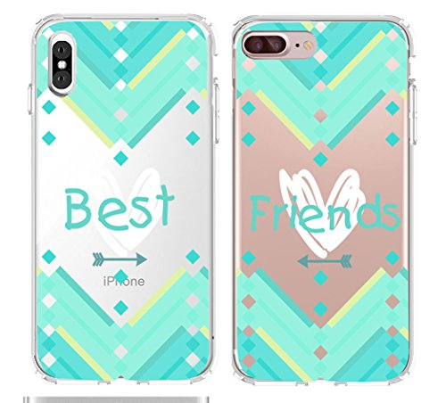 Shark Infinity Heart Arrow Aztec Best Friends Style Matching Couple Cases for ONE CASE:iPhone 7 Plus&ONE CASE:iPhone X