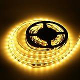 LEDMO LED Strip Lights Warm White 2700K 5m led strip lighting SMD2835-300LEDs decorative lights TV kitchen cabinets under cupboard cave plinth lights rope 5 meters, 3 times brightness than SMD3528 LED Tape Light