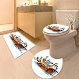 HuaWuhome 3 Piece Toilet lid Cover mat Set Many Animals on a Boat Printed