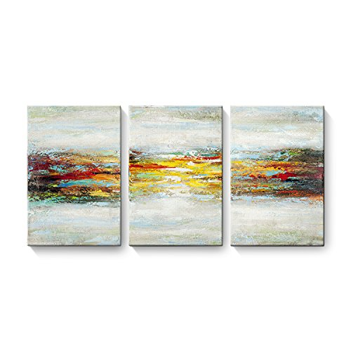 EZON-CH Modern 100% Hand Painted Framed Abstract Oil Painting Sunrise 3-Piece Gallery-Wrapped Wall Art on Canvas Ready to Hang for Living Roomfor Wall Decor Home Decoration ()