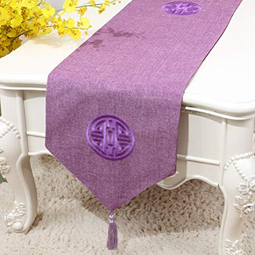 AGONG Classic Tassel Elegant Table Runner with Chinese Style Design,Pefect for Wedding Party Holiday Home Living Dining Decoration (Bb02 Table)