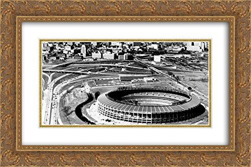 Fulton Atlanta Stadium (Atlanta?Fulton County Stadium 2X Matted 24x16 Gold Ornate Framed Art Print from The Stadium Series)
