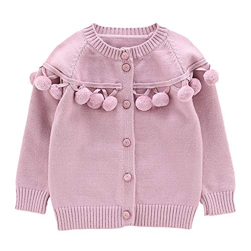 Moonnut Baby Girls Cardigan Sweaters with Pom Pom Cute Knit Sweater Autumn Winter Outwear (2T, Rose Pink)