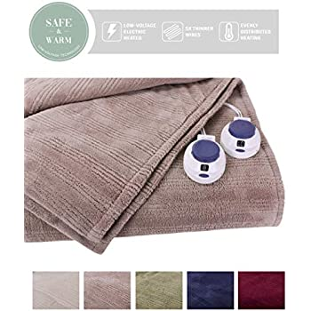 SoftHeat by Perfect Fit | Ultra Soft Plush Electric Heated Warming Blanket with Safe & Warm Low-Voltage Technology (King, Beige)