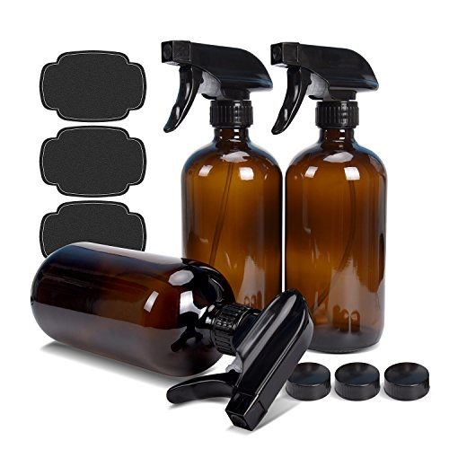ass Bottles 16 oz ULG 3 Piece Boston Round Brown Bottles Heavy Duty Mist Stream Sprayer for Essential Oils or Cleaning Products 3 Bottle Caps 3 Bottle Labels Included (3 Piece Glass Oil)