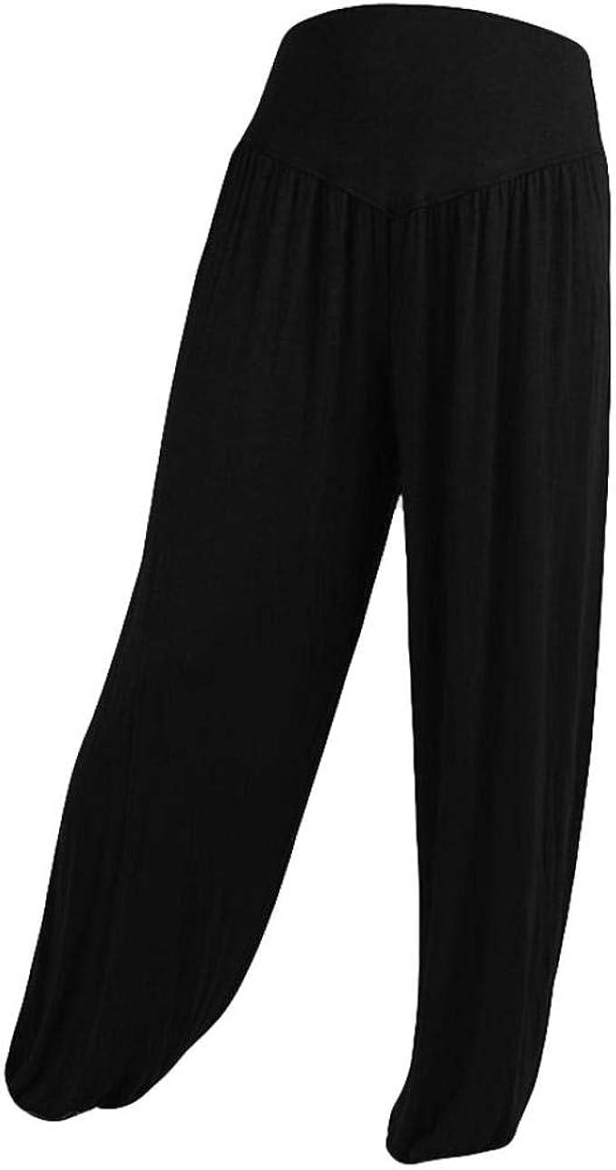 iYBUIA Womens Solid Elastic Loose Casual Modal Cotton Soft Yoga Sports Dance Harem Pants