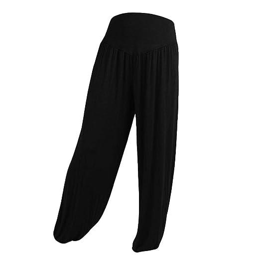 536e6e5228 iYBUIA Womens Solid Elastic Loose Casual Modal Cotton Soft Yoga Sports  Dance Harem Pants(Black