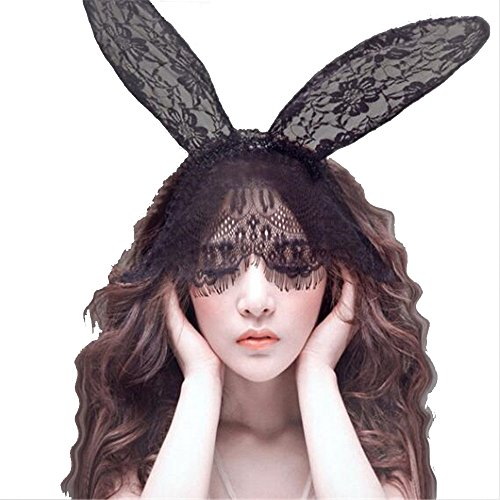 Hallowmas Mask Bunny Rabbit Ears Headband Venetian Lace Veil Masquerade Mask Hairband