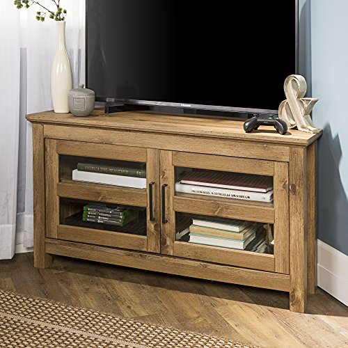 Corner Media Storage - New 44 Inch Wide Corner Television Stand in Barnwood Finish