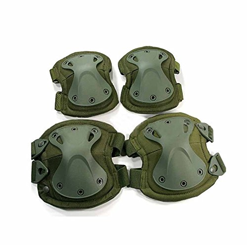 H World Shopping Airsoft Tactical Adjustable Combat Knee Elbow Protector Pads Set Biking Skate OD Green (Swat Pads Knee Tactical)