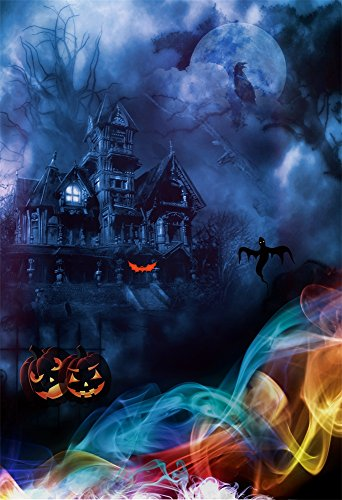 Yeele 6x9ft Halloween Backdrop Horror Night Haunted Castle Crow Ghost Grimace Pumpkins Lantern Party Decor Photography Background for Picture Kids Children Portrait Photo Booth Shoot Studio Props