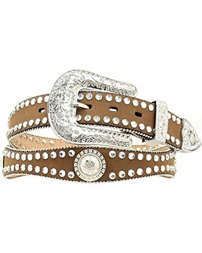 Blazin Roxx Women's Rhinestone Lined Concho Belt Med Brown Medium