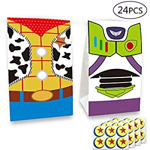 24 pcs Toy Inspired Story Birthday Party Supplies Favor Goodie Gift Bags, Including Woody and Buzz Lightyear 2 Patterns for Kids Birthday Party Decorations