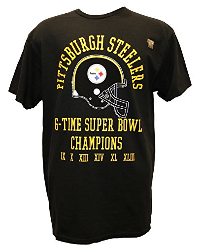 G-III Sports NFL Pittsburgh Steelers 6 Time Super Bowl Champ T-Shirt, Black, Large