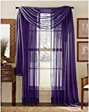 plum window scarf - LuxuryDiscounts Beautiful Elegant Solid Purple Sheer Scarf Valance Topper 38