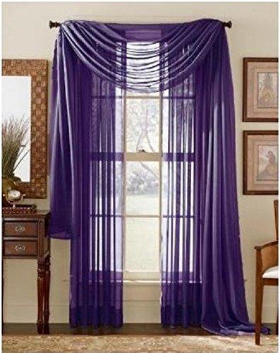 Curtains Eggplant (LuxuryDiscounts 2 Piece Solid Purple Elegant Sheer Curtains Fully Stitched Panels Window Treatment Drape 54