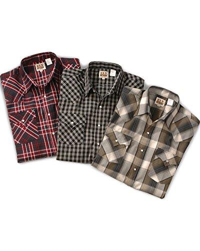 Tall Western Shirts (ELY CATTLEMAN Men's Assorted Plaid Or Stripe Short Sleeve Western Shirt Big Plaid XX-Large Tall)