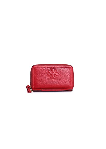 967e9bfa2c Tory Burch Thea Zip-Around Pebbled Leather Smartphone Wristlet Wallet In  Rust Red: Amazon.in: Shoes & Handbags