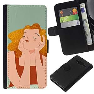 All Phone Most Case / Oferta Especial Cáscara Funda de cuero Monedero Cubierta de proteccion Caso / Wallet Case for Samsung Galaxy Core Prime // Wonder Happy Gray Drawing Painting