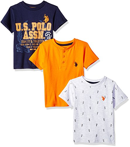 (U.S. Polo Assn. Boys' Toddler 3 Short Sleeve T-Shirt, Mixed Pack with Graphic high Heat Orange 3T)