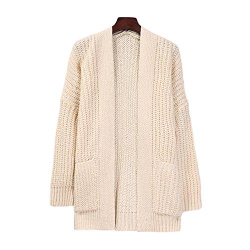 Poches Casual Sweaters Femme Avec Tricot Veste Cardigan Manche Chaud Bouton en Sans YouPue Beige Cardigans Longue WSyqz4HH
