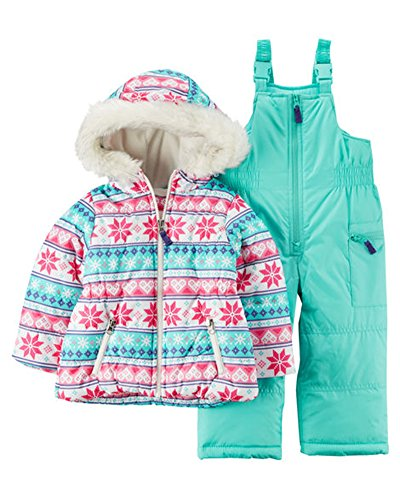 29418cc5d3b Carter's Baby Girls 2-Piece Heavyweight Printed Snowsuit, Fair Isle  Snowflake, 12M
