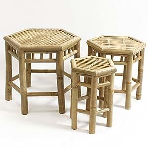 3piezas, juego de mesa auxiliar Waikiki bambú mesa mesa de jardín mesa de madera 6rectangular