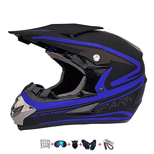 Moto Cross Helm,Kinder Motocross Motorrad Helm Kinder Cross Helm Kit mit Brille/Maske/Handschuhen/Elastic Motorcycle Net…