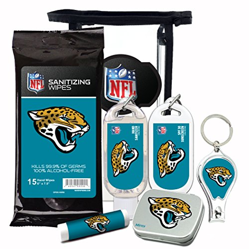 Jaguars Jacksonville Scarf Jersey (Jacksonville Jaguars 6-Piece Fan Kit with Decorative Mint Tin, Nail Clippers, Hand Sanitizer, SPF 15 Lip Balm, SPF 30 Sunscreen, Sanitizer Wipes. NFL Football Gifts for Men and Women)