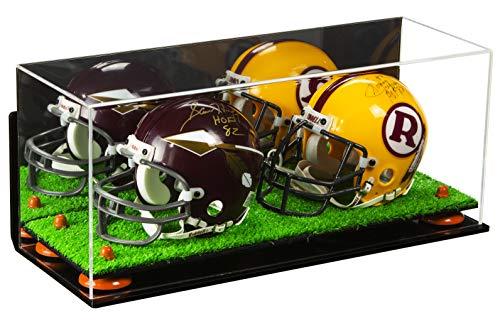 58f0e958929 Better Display Cases 2 Mini Football Helmet Display Case (not Full Size) Clear  Acrylic Plexiglass with Mirror