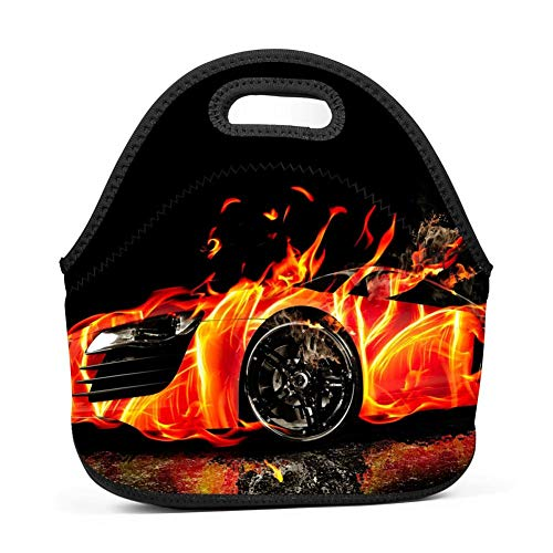 WWQE-B Fire Super Car Flame Economy Lunch Bag ()