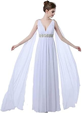 Formaldresses High Waist Greek Gothic Maternity Beach Wedding Dress Plus Size With Glass Crystals Watteau Train At Amazon Women S Clothing Store