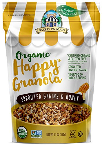 Bakery On Main Gluten-Free, Organic Happy Granola, Sprouted Grains & Honey, 11 Ounce Bag (3 Count)