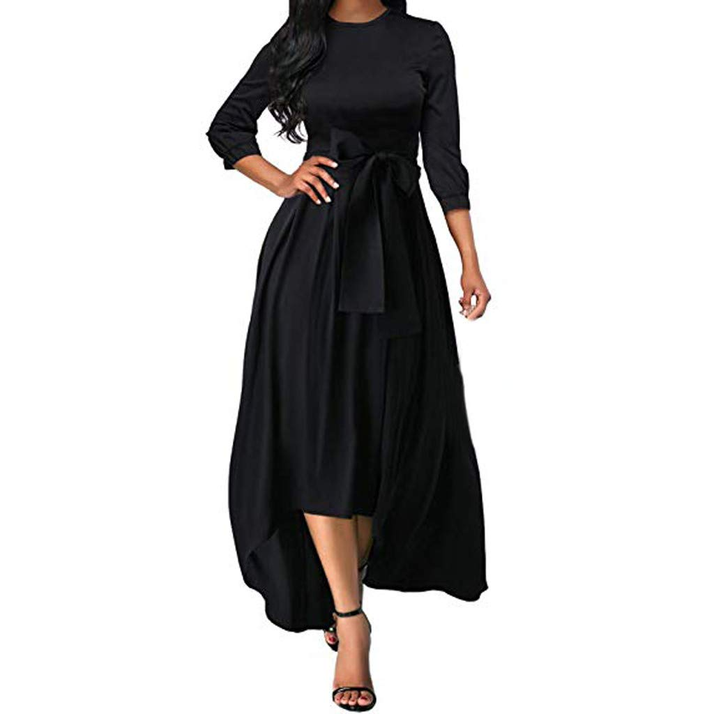 Black M Black M SSMENG Womens 3 4 Sleeve Casual Formal Dress Flowy Homecoming Cocktail High Waist Maxi Long Dress with Belt