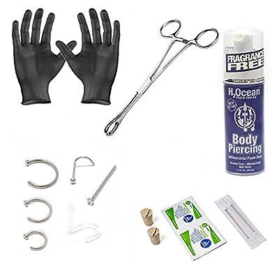 BodyJewelryOnline 18G Nose Ring Body Piercing Kit 15 Pieces - H2ocean Foam Spray, Forcep, Gloves, Corks, Needles & 316L Surgical Steel Nose Screw Stud Hoop Fishtail Jewelry