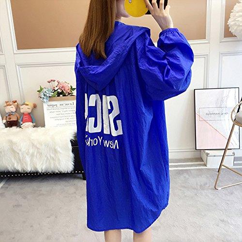 QFFL fangshaifu サマールーズロングセクションサンプロテクションウェア/女性学生プリントサンスクリーンジャケット/ビーチサンプロテクションショール/オフィスエアコンディショナーシャツ(3色展開可能) (色 : B)