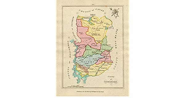 Map Of Ireland Longford.Amazon Com County Of Longford Leinster Antique Copperplate Map By