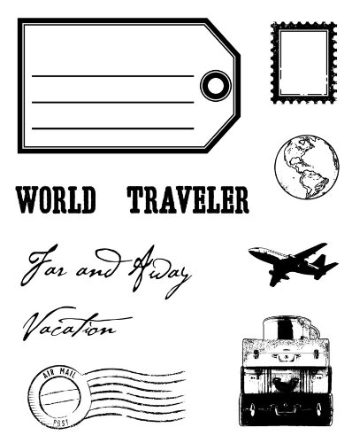 Karen Foster Design, Clear Stamp Set, World Traveler