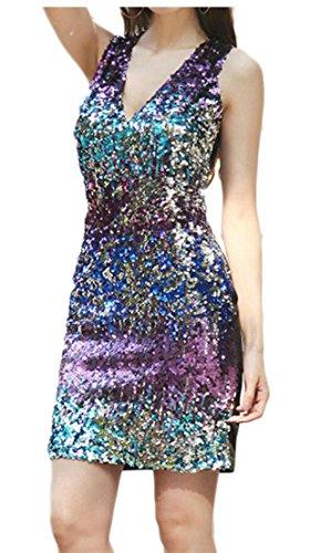 Sequin Club Sexy Sleeveless Purple Mini Neck Women Dress V Jaycargogo Deep YOx6Oq