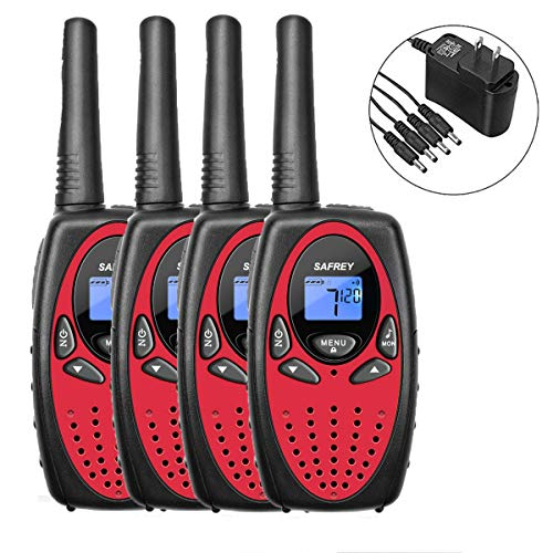 Safrey Kids Walkie Talkies Rechargeable Battery Charger 22 Channel GMRS Two Way Radios Long Range Handheld Walkie Talkies for Kids Adult(4 Pack)