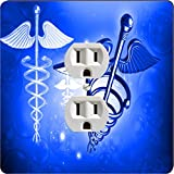 Rikki Knight 8865 Outlet Blue Medical Doctor Symbol Design Outlet Plate