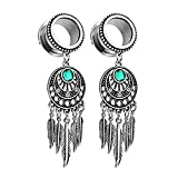 BodyJ4You Pair Surgical Steel Screw-Fit Tunnel Dreamcatcher Dangle Tribal Plugs 12mm (1/2 Inch) Gauges