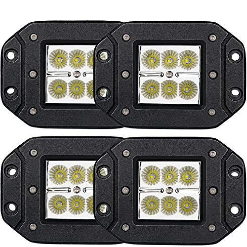 Led Light Bar TURBO SII 4pcs Flood 3x3 Dually Flush Mount Led Light Lamps Led Off Road Back Up Reverse lights Fits for Jeep Truck F150 F250 F350 Toyota Honda Chevy Silverado Front/Rear Bumper