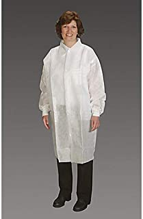 product image for Alpha Pro Tech LC-62621-6 Critical Cover NuTech Lab Coat with Tapered Collar, Elastic Wrist, 3 Pockets, Snap Close, 2XL/3XL (Pack of 25)