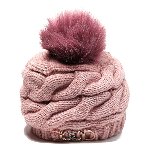 t - Wool Felt Fox Fur Pom Pom Hat Womens Pink Knit Beanie … (Fur Dress Hat)