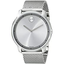Movado Men's BOLD Thin Stainless Steel Watch with a Printed Index Dial, Silver (Model 3600260)