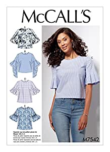 MCCALLS M7542 Misses' Tops with Trumpet, Tulip, Pleated or Bubble Sleeves SIZE 6-8 ~ SEWING PATTERN